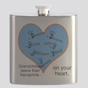 Handprints on your heart - 7 kids Flask
