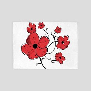 Modern Red and Black Floral Design 5'x7'Area Rug