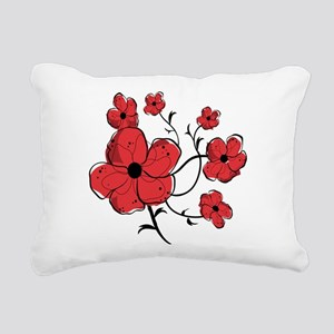 Modern Red and Black Floral Design Rectangular Can
