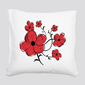 Modern Red and Black Floral Design Square Canvas P