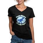 T-Rex Hates Push-ups Women's V-Neck Dark T-Shirt