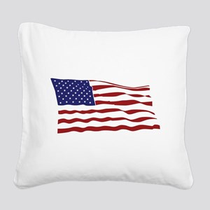 USA Flag Square Canvas Pillow