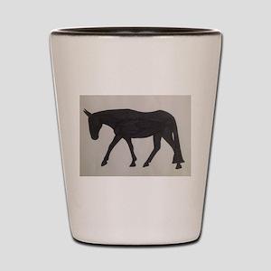Mule outline Shot Glass