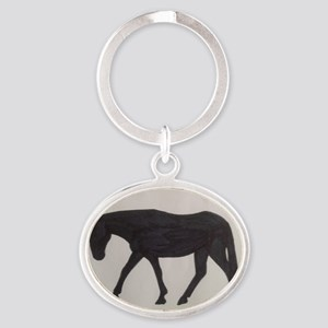 Mule outline Oval Keychain