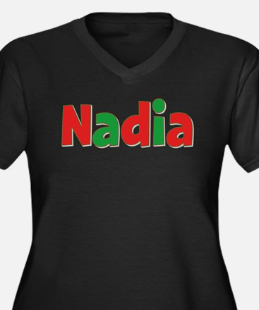 Nadia Christmas Women's Plus Size V-Neck Dark T-Sh
