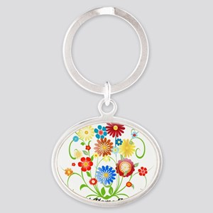 Personalized floral light Oval Keychain