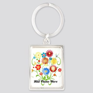 Personalized floral light Portrait Keychain