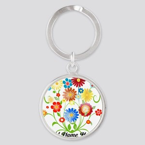 Personalized floral light Round Keychain