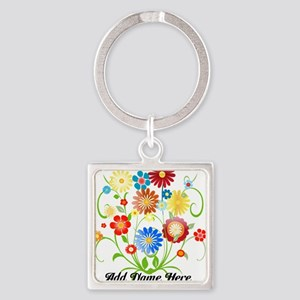 Personalized floral light Square Keychain