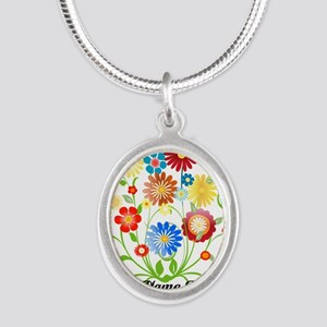 Personalized floral light Silver Oval Necklace