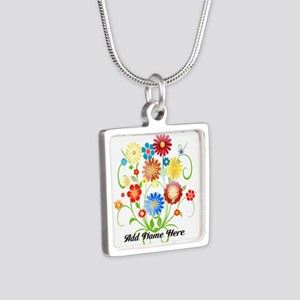 Personalized floral light Silver Square Necklace