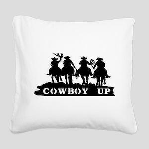 Cowboy Up Square Canvas Pillow