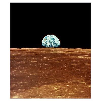Apollo 11 view of Earth rising over Moon's horizon Poster