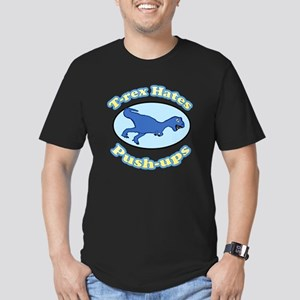 T-Rex Hates Push-ups 2 Men's Fitted T-Shirt (dark)