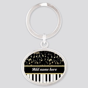 Personalized Piano and musical notes Oval Keychain