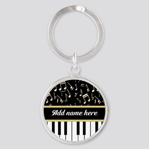 Personalized Piano and musical notes Round Keychai