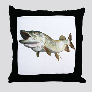 Toothy Musky Throw Pillow