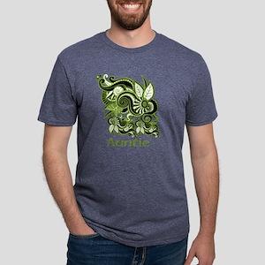 Auntie, Green Swirl Design. Mens Tri-blend T-Shirt