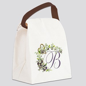 heart with flowers letter B Canvas Lunch Bag