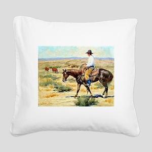 Cowboy Painting Square Canvas Pillow