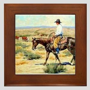 Cowboy Painting Framed Tile