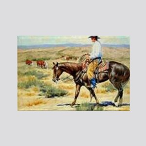 Cowboy Painting Rectangle Magnet