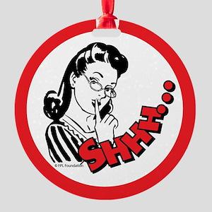 Shhh...Librarian Round Ornament
