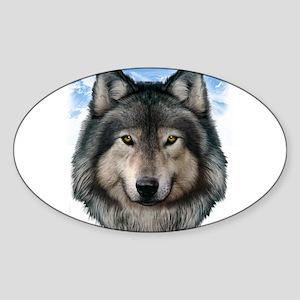 Wolf Head 2 Sticker (Oval)