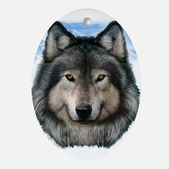 Wolf Head 2 Ornament (Oval)