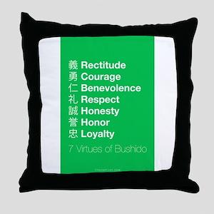 The 7 Virtues of Bushido Throw Pillow