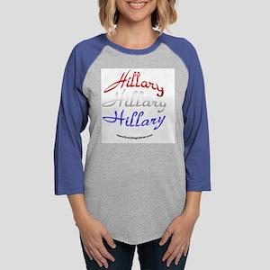Hillary_Red_White_Blue_Button. Womens Baseball Tee