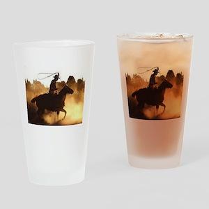 Roping Cowboy Drinking Glass