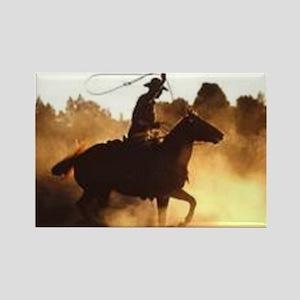 Roping Cowboy Rectangle Magnet