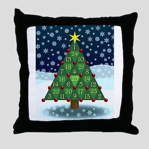 Advent Sum Christmas Tree Throw Pillow