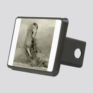 Grey Horse Charging Rectangular Hitch Cover