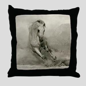 Grey Horse Charging Throw Pillow