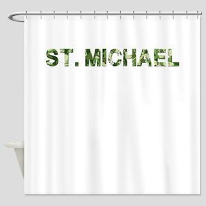 St. Michael, Vintage Camo, Shower Curtain