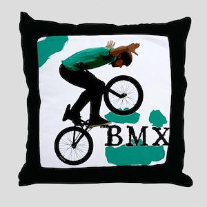 BMX ink blot Throw Pillow