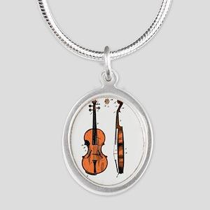 Fiddle / Violin Patent Silver Oval Necklace