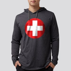 red cross Mens Hooded Shirt