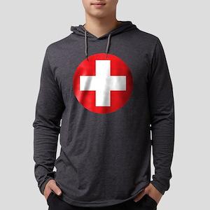 red cross Mens Hooded Shirt