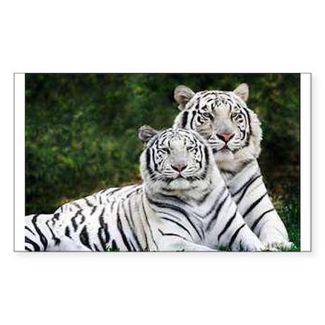 White Tigers Sticker (Rectangle)