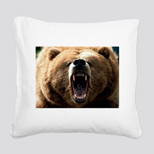 Grizzzly Square Canvas Pillow