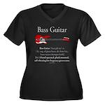 Bass Guitar LFG Women's Plus Size V-Neck Dark T-Sh