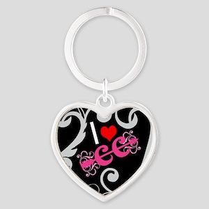 I love Cross Country Heart Keychain