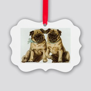 Two Pug Dogs Picture Ornament
