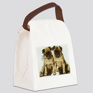 Two Pug Dogs Canvas Lunch Bag