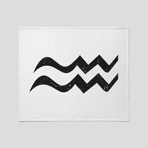Aquarius Symbol Throw Blanket