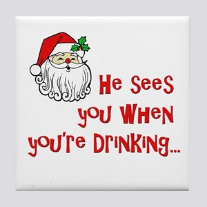 He Sees You Tile Coaster