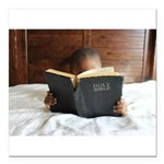 Boy With The Bible Square Car Magnet 3